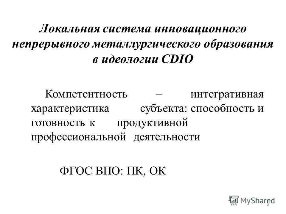 Локальная система инновационного непрерывного металлургического образования в идеологии CDIO Компетентность – интегративная характеристика субъекта: способность и готовность к продуктивной профессиональной деятельности ФГОС ВПО: ПК, ОК 6