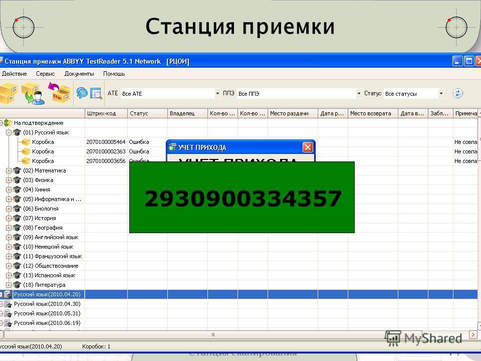 14Станция сканирования Станция приемки 2930900334357
