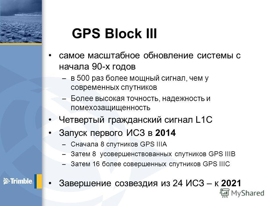 GPS Block III самое масштабное обновление системы с начала 90-х годов – в 500 раз более мощный сигнал, чем у современных спутников – Более высокая точность, надежность и помехозащищенность Четвертый гражданский сигнал L1C Запуск первого ИСЗ в 2014 –