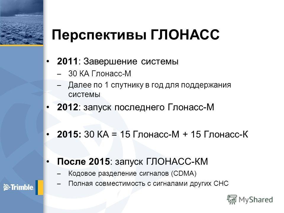 Перспективы ГЛОНАСС 2011: Завершение системы – 30 КА Глонасс-М – Далее по 1 спутнику в год для поддержания системы 2012: запуск последнего Глонасс-М 2015: 30 КА = 15 Глонасс-М + 15 Глонасс-К После 2015: запуск ГЛОНАСС-КМ – Кодовое разделение сигналов