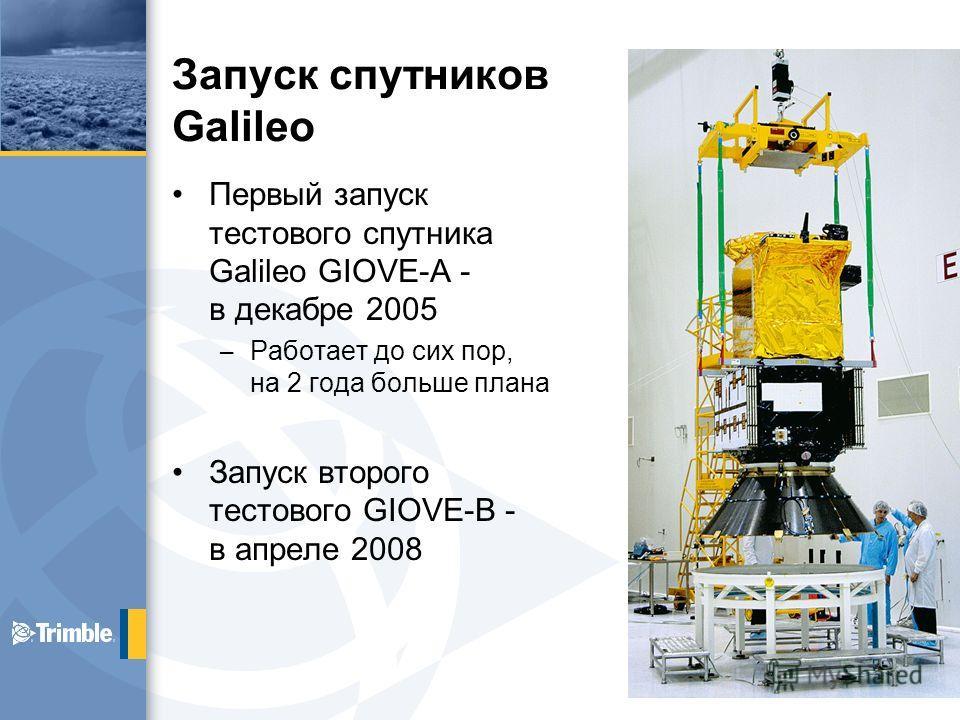Запуск спутников Galileo Первый запуск тестового спутника Galileo GIOVE-A - в декабре 2005 – Работает до сих пор, на 2 года больше плана Запуск второго тестового GIOVE-B - в апреле 2008