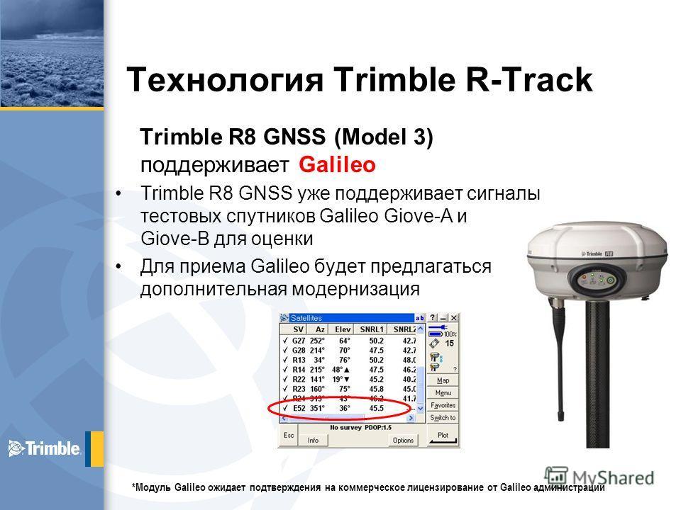 Технология Trimble R-Track Trimble R8 GNSS (Model 3) поддерживает Galileo Trimble R8 GNSS уже поддерживает сигналы тестовых спутников Galileo Giove-A и Giove-B для оценки Для приема Galileo будет предлагаться дополнительная модернизация *Модуль Galil
