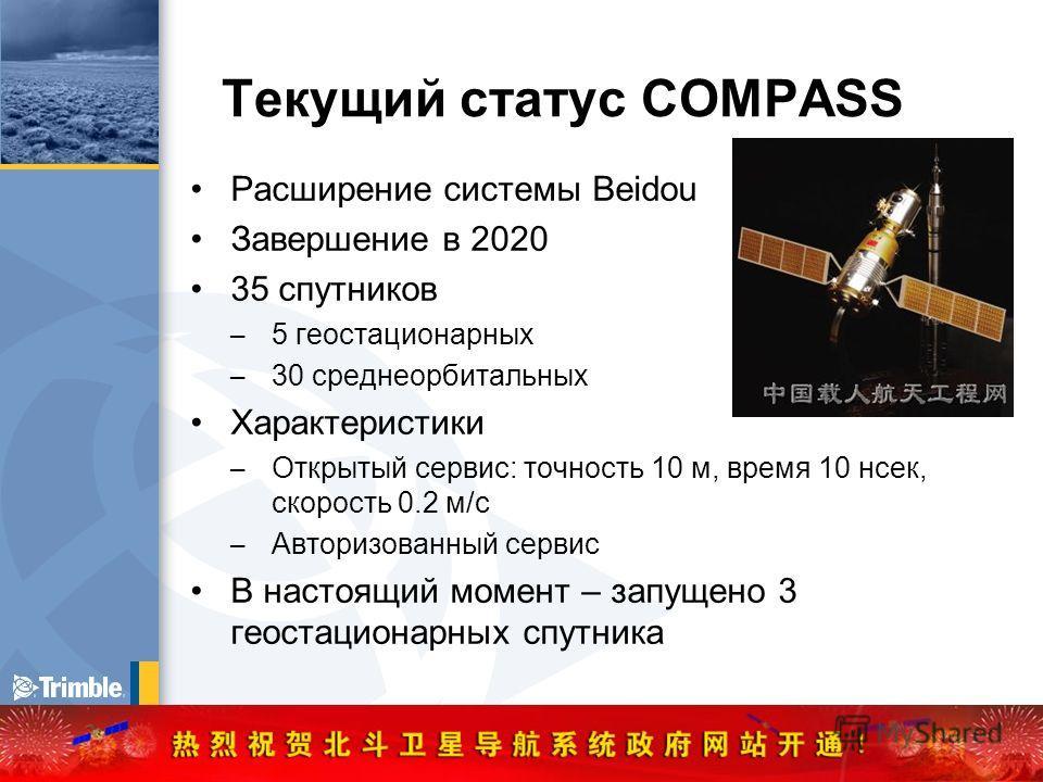 Текущий статус COMPASS Расширение системы Beidou Завершение в 2020 35 спутников – 5 геостационарных – 30 среднеорбитальных Характеристики – Открытый сервис: точность 10 м, время 10 нсек, скорость 0.2 м/с – Авторизованный сервис В настоящий момент – з