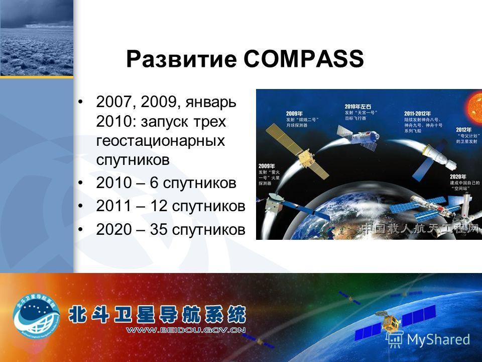 Развитие COMPASS 2007, 2009, январь 2010: запуск трех геостационарных спутников 2010 – 6 спутников 2011 – 12 спутников 2020 – 35 спутников