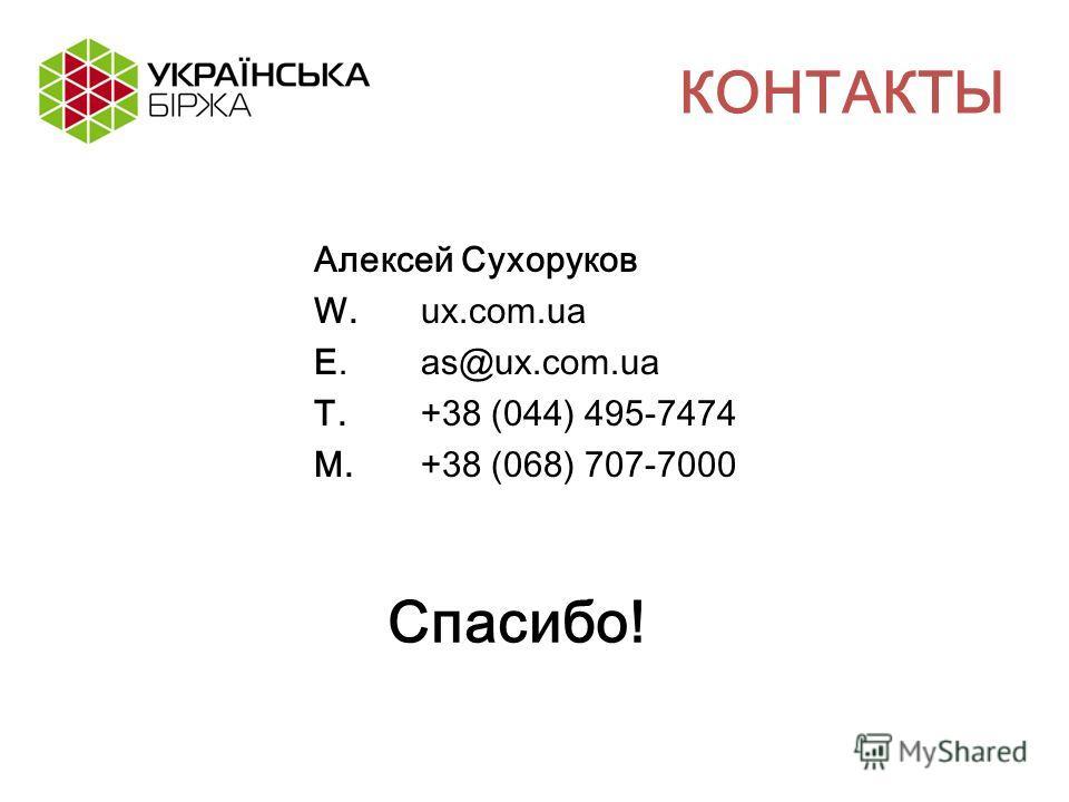 КОНТАКТЫ Алексей Сухоруков W.ux.com.ua E. as@ux.com.ua T.+38 (044) 495-7474 M.+38 (068) 707-7000 Спасибо!