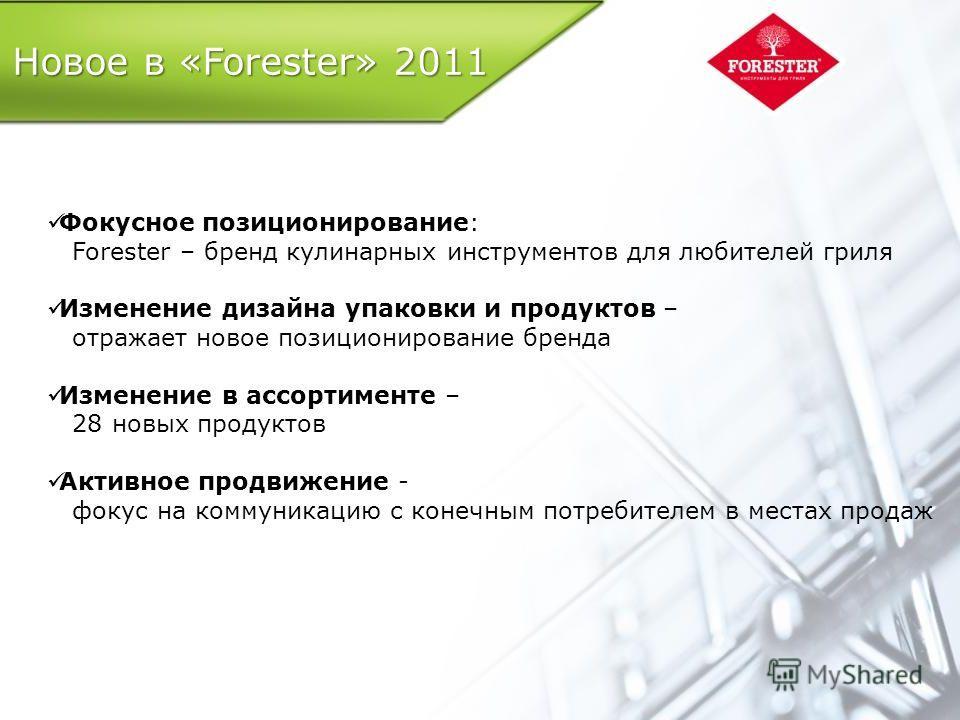 Новое в «Forester» 2011 Фокусное позиционирование: Forester – бренд кулинарных инструментов для любителей гриля Изменение дизайна упаковки и продуктов – отражает новое позиционирование бренда Изменение в ассортименте – 28 новых продуктов Активное про