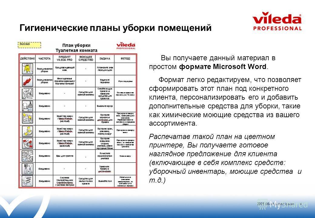 2005-06-14 Lorem ipsum 4 Вы получаете данный материал в простом формате Microsoft Word. Формат легко редактируем, что позволяет сформировать этот план под конкретного клиента, персонализировать его и добавить дополнительные средства для уборки, такие