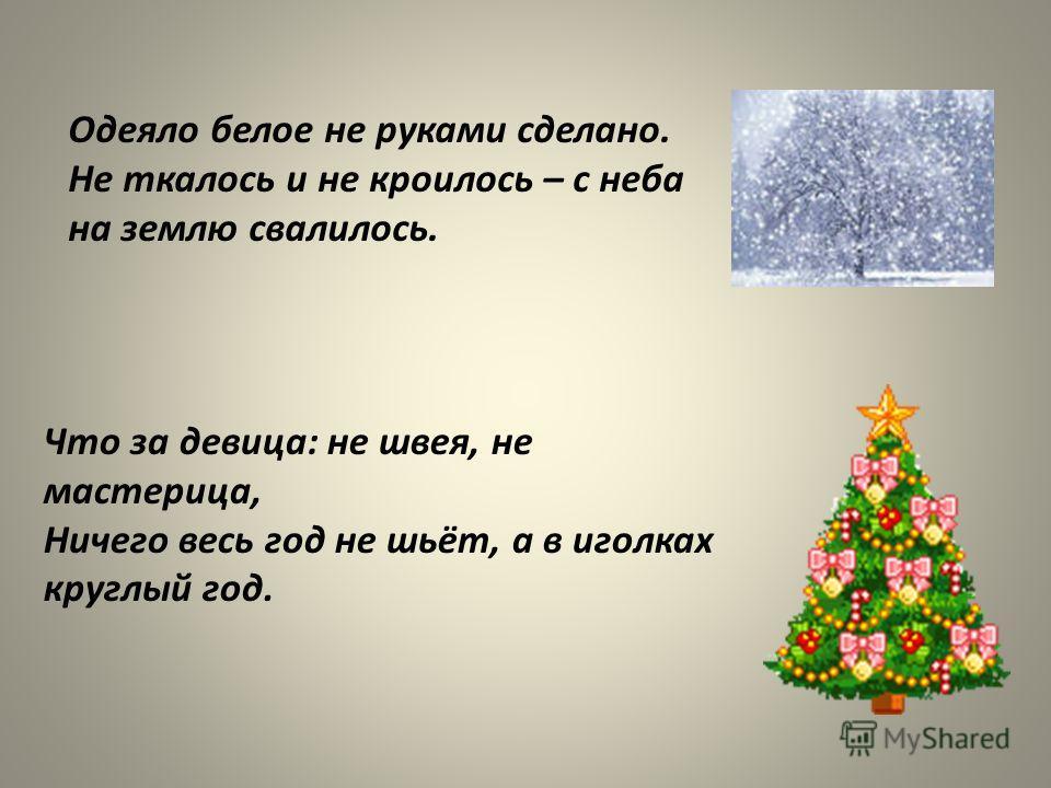 Одеяло белое не руками сделано. Не ткалось и не кроилось – с неба на землю свалилось. Что за девица: не швея, не мастерица, Ничего весь год не шьёт, а в иголках круглый год.