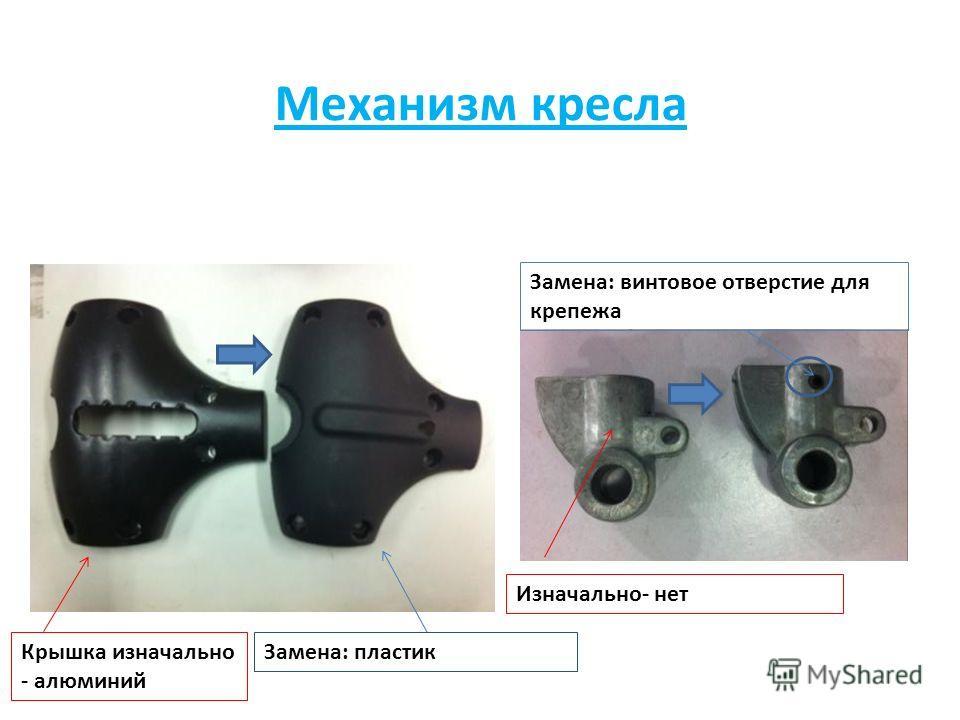 Крышка изначально - алюминий Замена: пластик Замена: винтовое отверстие для крепежа Изначально- нет Механизм кресла