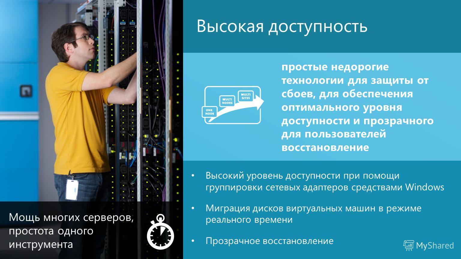 11 Высокий уровень доступности при помощи группировки сетевых адаптеров средствами Windows Миграция дисков виртуальных машин в режиме реального времени Прозрачное восстановление Высокая доступность простые недорогие технологии для защиты от сбоев, дл