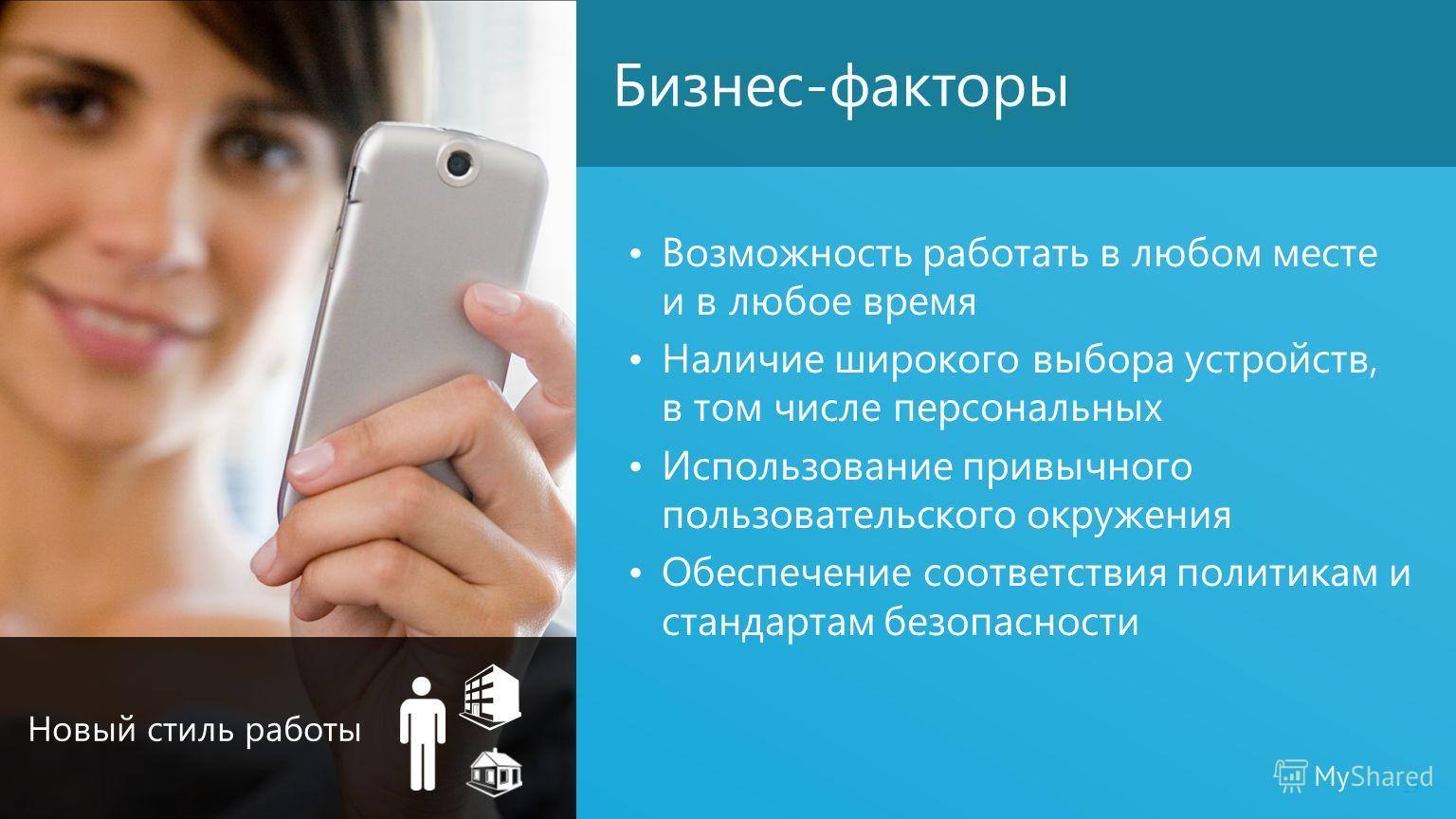 Бизнес-факторы Возможность работать в любом месте и в любое время Наличие широкого выбора устройств, в том числе персональных Использование привычного пользовательского окружения Обеспечение соответствия политикам и стандартам безопасности 19 Новый с