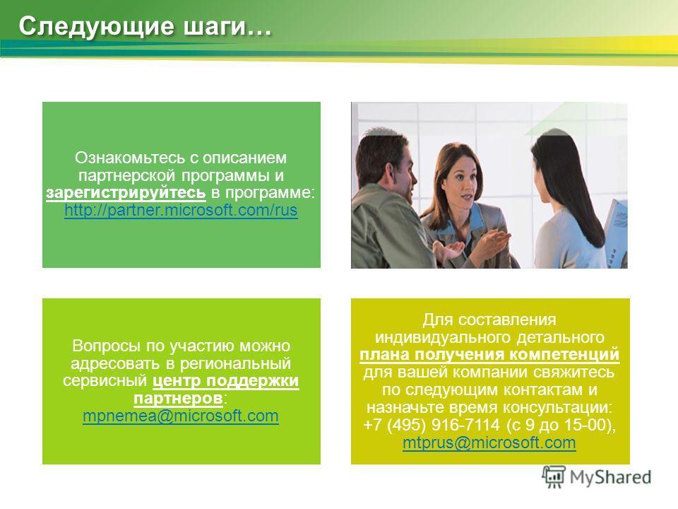Следующие шаги… Ознакомьтесь с описанием партнерской программы и зарегистрируйтесь в программе: http://partner.microsoft.com/rus http://partner.microsoft.com/rus Вопросы по участию можно адресовать в региональный сервисный центр поддержки партнеров: