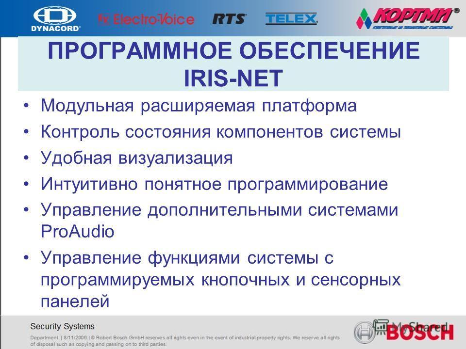 ПРОГРАММНОЕ ОБЕСПЕЧЕНИЕ IRIS-NET Модульная расширяемая платформа Контроль состояния компонентов системы Удобная визуализация Интуитивно понятное программирование Управление дополнительными системами ProAudio Управление функциями системы с программиру