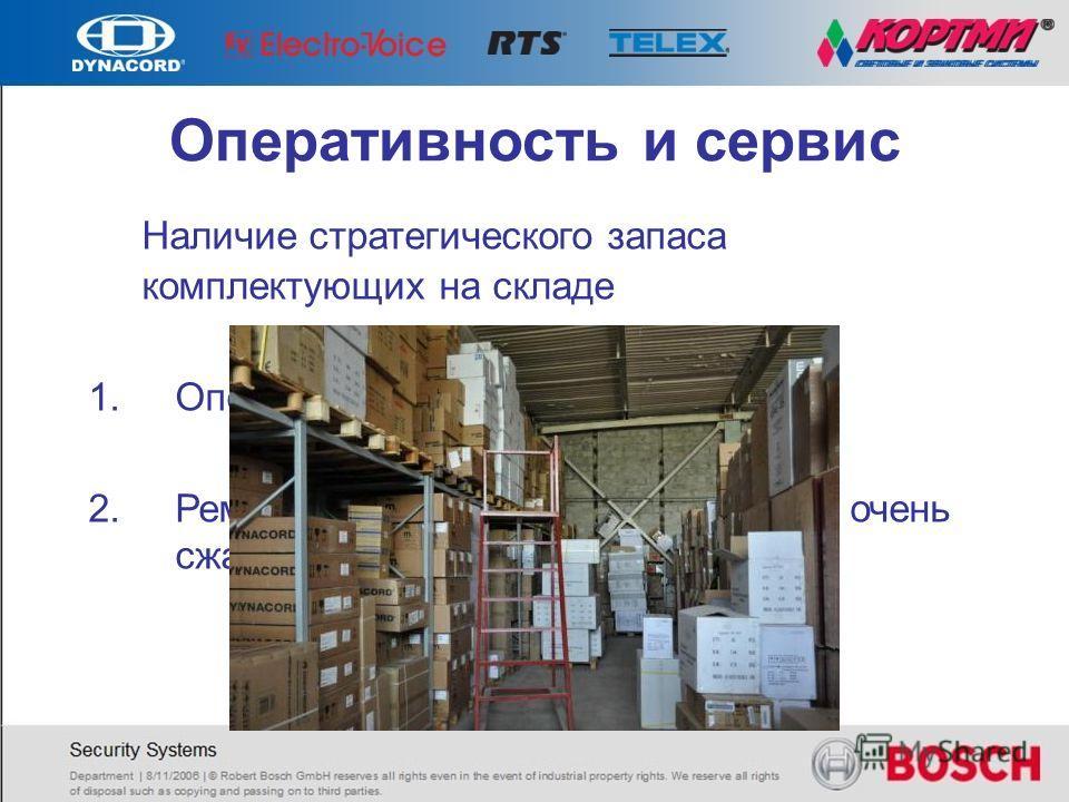 Наличие стратегического запаса комплектующих на складе 1.Оперативность поставки 2.Ремонт и сервисное обслуживание в очень сжатые сроки. Оперативность и сервис