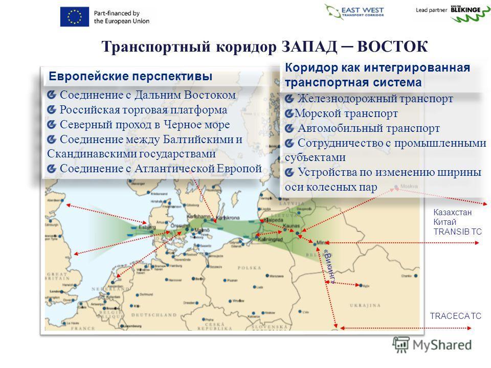 Транспортный коридор ЗАПАД ВОСТОК Соединение с Дальним Востоком Российская торговая платформа Северный проход в Черное море Соединение между Балтийскими и Скандинавскими государствами Соединение с Атлантической Европой Соединение с Дальним Востоком Р