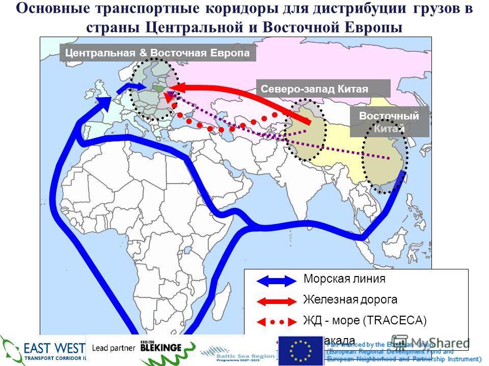 Центральная & Восточная Европа Северо-запад Китая Восточный Китай Морская линия Железная дорога ЖД - море (TRACECA) Эстакада Основные транспортные коридоры для дистрибуции грузов в страны Центральной и Восточной Европы 2