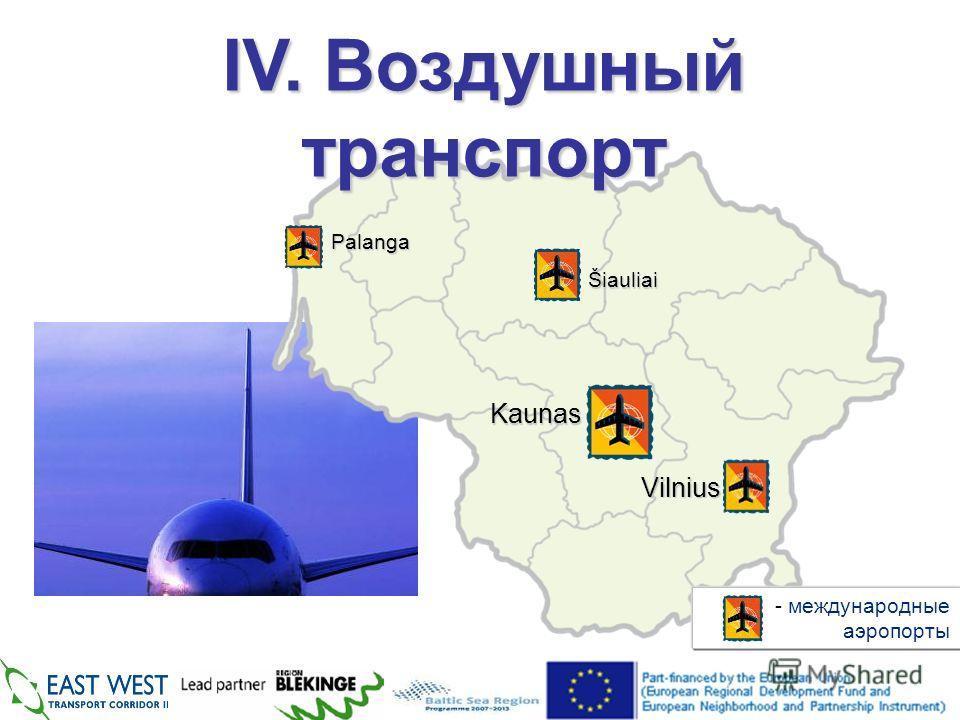 IV. Воздушный транспорт - международные аэропорты Palanga Šiauliai Kaunas Vilnius