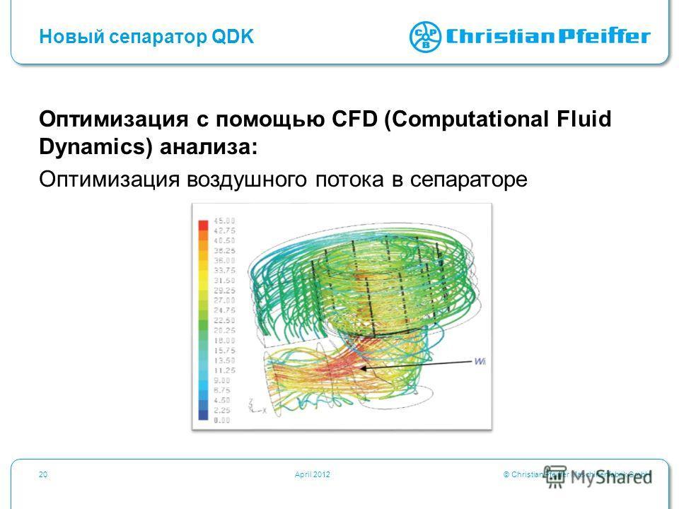 © Christian Pfeiffer Maschinenfabrik GmbH20April 2012 Новый сепаратор QDK Оптимизация с помощью CFD (Computational Fluid Dynamics) анализа: Оптимизация воздушного потока в сепараторе