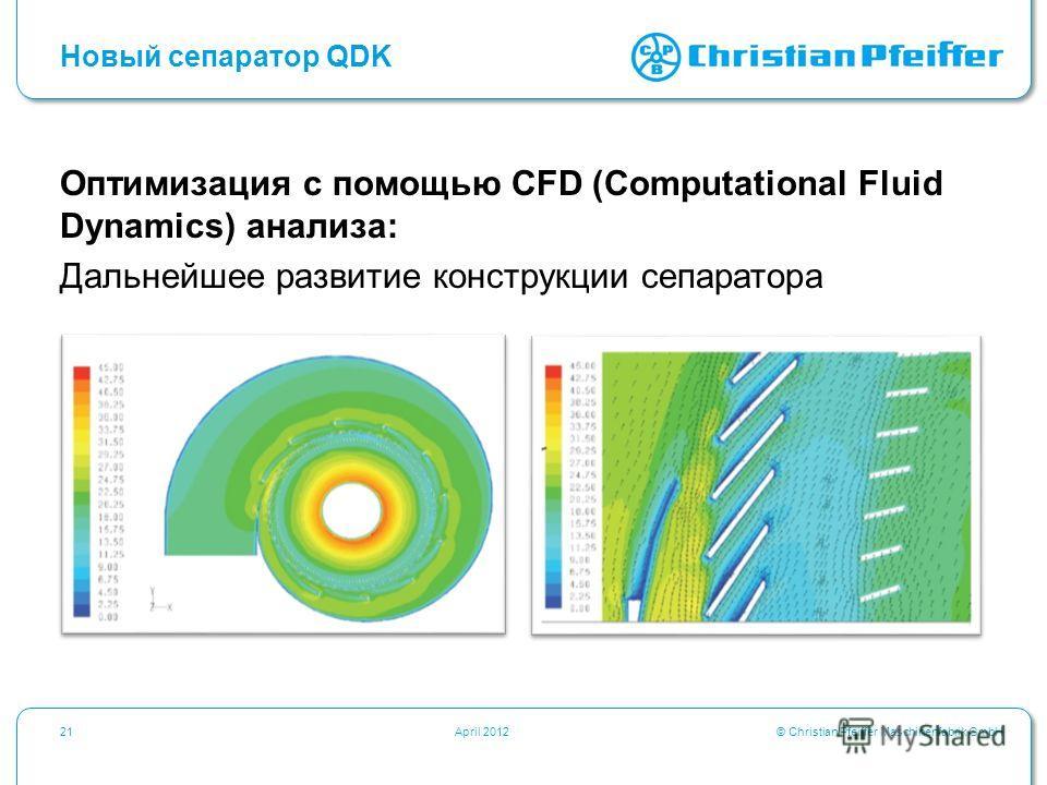 © Christian Pfeiffer Maschinenfabrik GmbH21April 2012 Новый сепаратор QDK Оптимизация с помощью CFD (Computational Fluid Dynamics) анализа: Дальнейшее развитие конструкции сепаратора