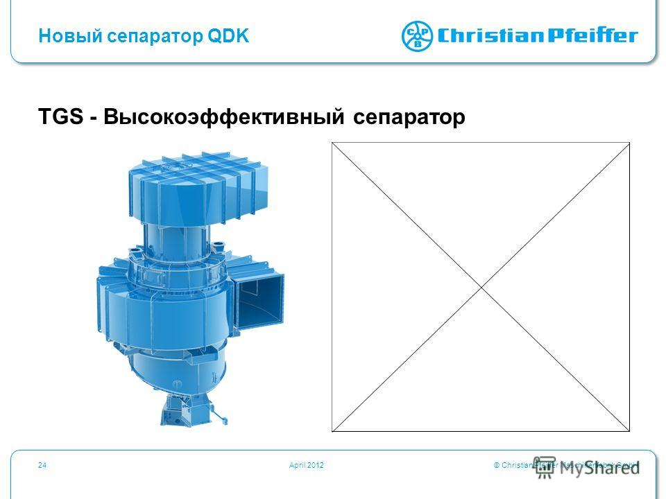 © Christian Pfeiffer Maschinenfabrik GmbH24April 2012 Новый сепаратор QDK TGS - Высокоэффективный сепаратор