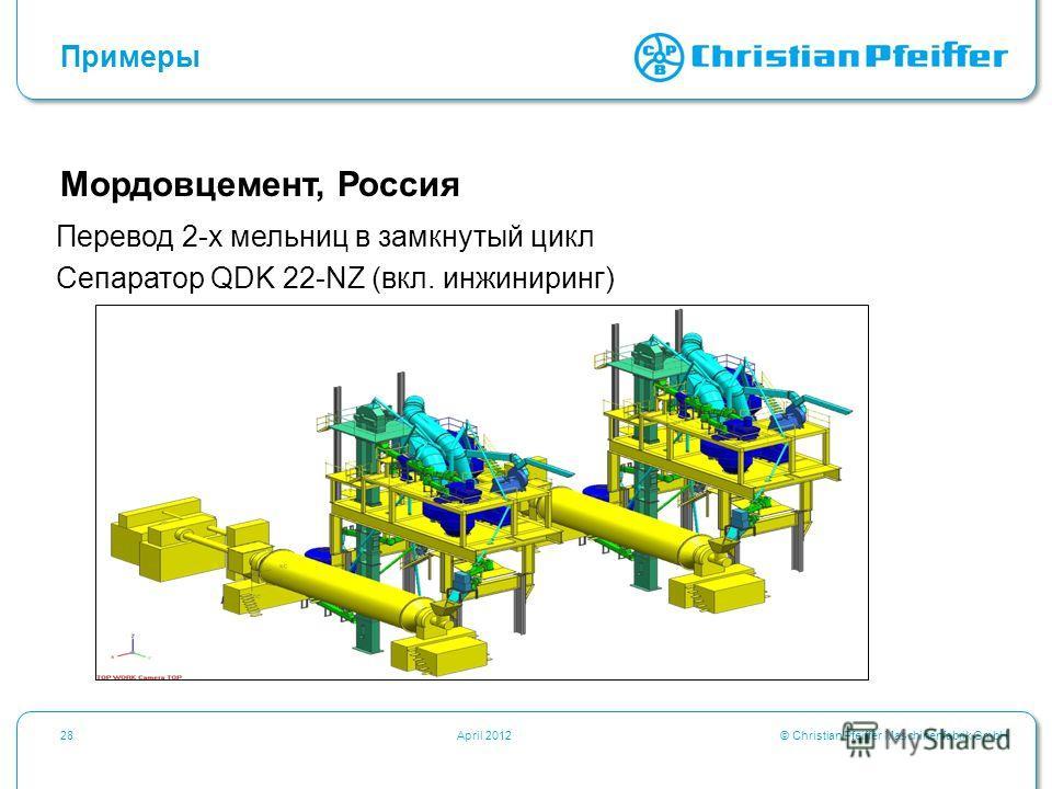 © Christian Pfeiffer Maschinenfabrik GmbH28April 2012 Примеры Мордовцемент, Россия Перевод 2-х мельниц в замкнутый цикл Сепаратор QDK 22-NZ (вкл. инжиниринг)
