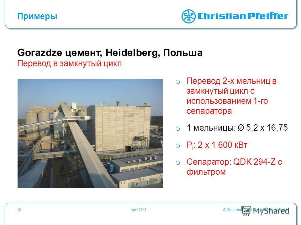 © Christian Pfeiffer Maschinenfabrik GmbH42April 2012 Gorazdze цемент, Heidelberg, Польша Примеры Перевод в замкнутый цикл o Перевод 2-х мельниц в замкнутый цикл с использованием 1-го сепаратора o 1 мельницы: Ø 5,2 x 16,75 o P i : 2 x 1 600 кВт o Сеп