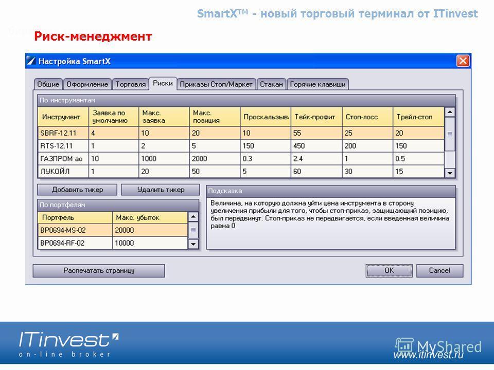 ITinvest SmartX TM – новый торговый терминал от ITinvest Риск-менеджмент SmartX TM - новый торговый терминал от ITinvest