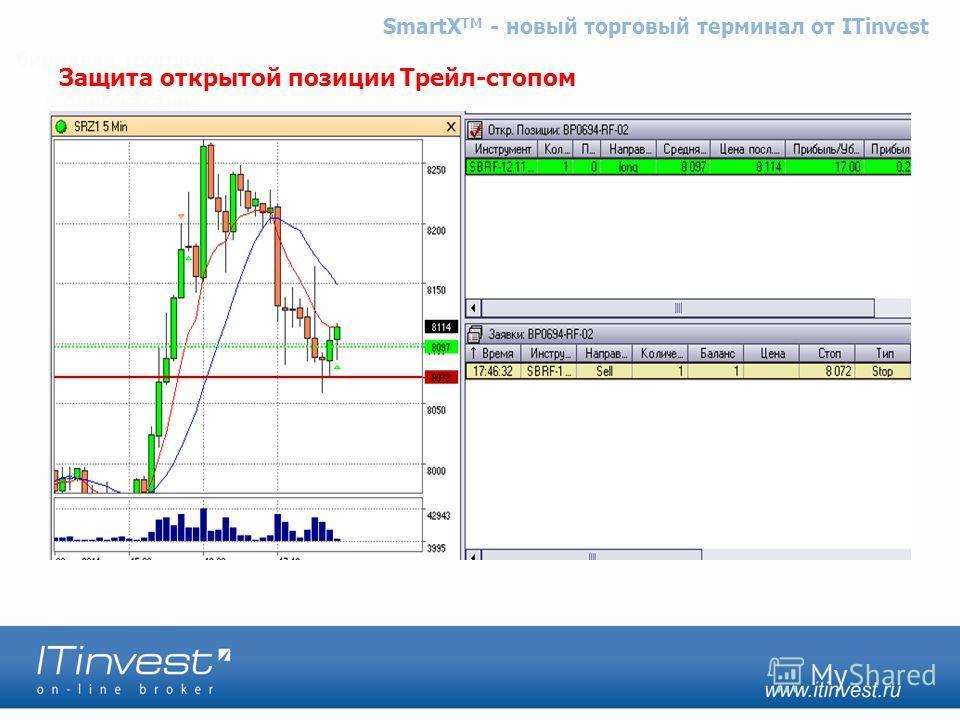 Защита открытой позиции Трейл-стопом SmartX TM - новый торговый терминал от ITinvest