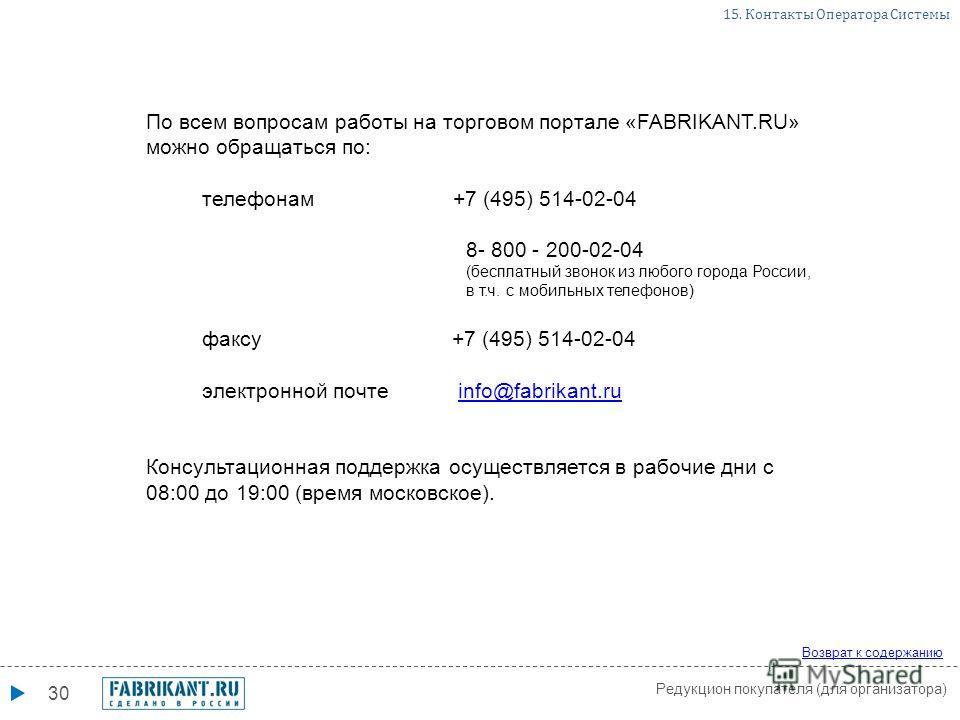 30 По всем вопросам работы на торговом портале «FABRIKANT.RU» можно обращаться по: телефонам +7 (495) 514-02-04 8- 800 - 200-02-04 (бесплатный звонок из любого города России, в т.ч. с мобильных телефонов) факсу +7 (495) 514-02-04 электронной почте in