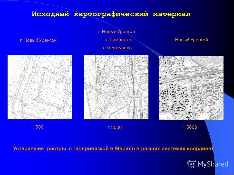 Исходный картографический материал 1:500 г. Новый Уренгой п. Лимбияха п. Коротчаево г. Новый Уренгой 1:2000 1:5000 Устаревшие растры с геопривязкой в Mapinfo в разных системах координат