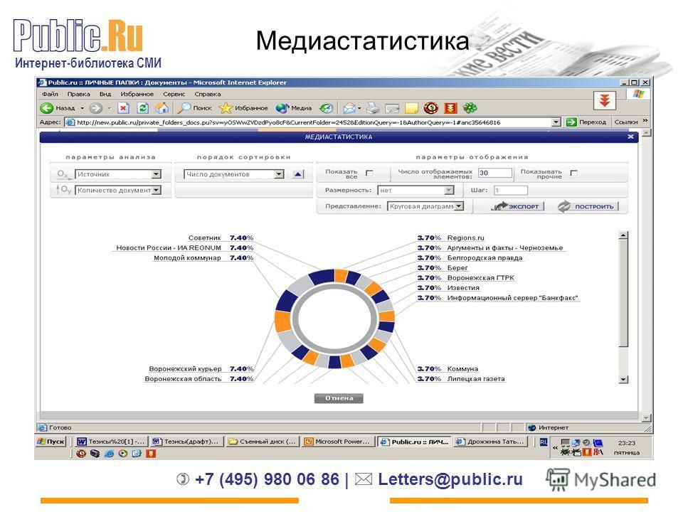 Интернет-библиотека СМИ +7 (495) 980 06 86 | Letters@public.ru Медиастатистика