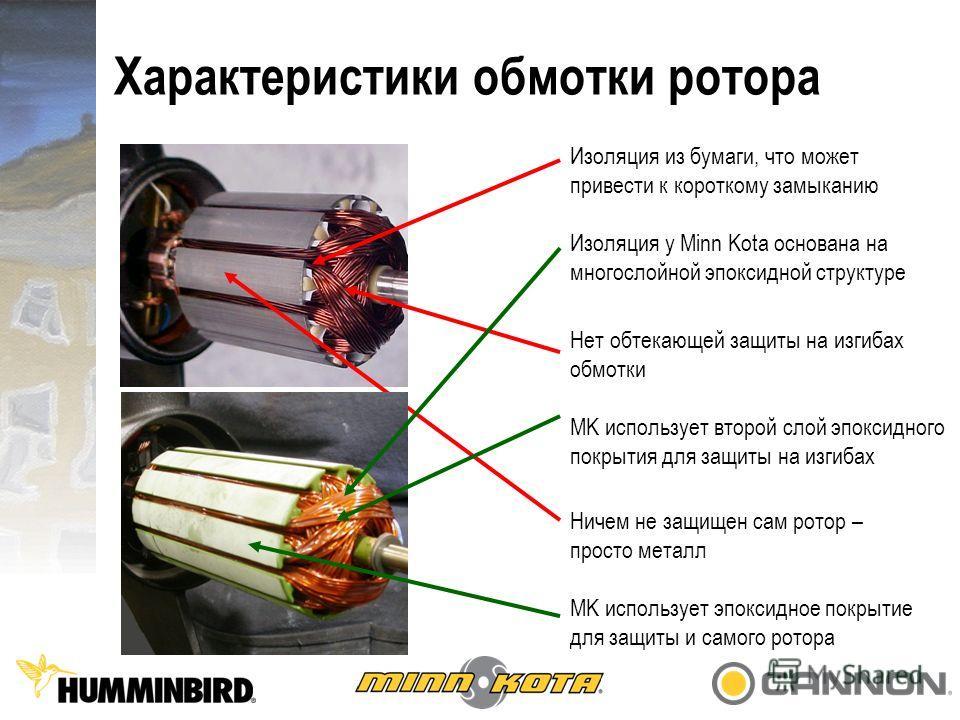 Характеристики обмотки ротора Изоляция из бумаги, что может привести к короткому замыканию Изоляция у Minn Kota основана на многослойной эпоксидной структуре Нет обтекающей защиты на изгибах обмотки MK использует второй слой эпоксидного покрытия для