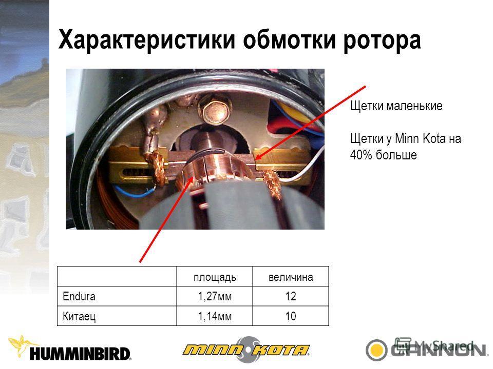 Характеристики обмотки ротора Щетки маленькие Щетки у Minn Kota на 40% больше площадьвеличина Endura1,27мм12 Китаец1,14мм10