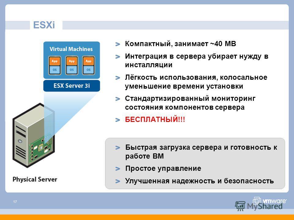 17 ESXi Быстрая загрузка сервера и готовность к работе ВМ Простое управление Улучшенная надежность и безопасность Компактный, занимает ~40 MB Интеграция в сервера убирает нужду в инсталляции Лёгкость использования, колосальное уменьшение времени уста