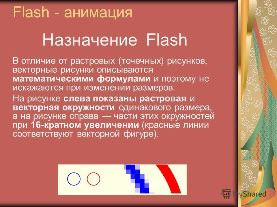 Назначение Flash В отличие от растровых (точечных) рисунков, векторные рисунки описываются математическими формулами и поэтому не искажаются при изменении размеров. На рисунке слева показаны растровая и векторная окружности одинакового размера, а на