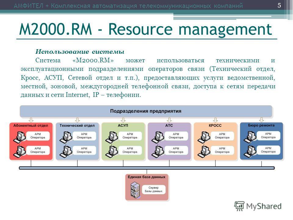М2000.RM - Resource management Использование системы Система «М2000.RM» может использоваться техническими и эксплуатационными подразделениями операторов связи (Технический отдел, Кросс, АСУП, Сетевой отдел и т.п.), предоставляющих услуги ведомственно