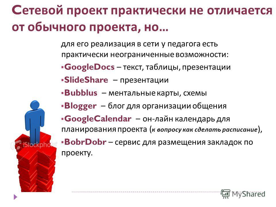 C етевой проект практически не отличается от обычного проекта, но … для его реализация в сети у педагога есть практически неограниченные возможности: GoogleDocs – текст, таблицы, презентации SlideShare – презентации Bubblus – ментальные карты, схемы