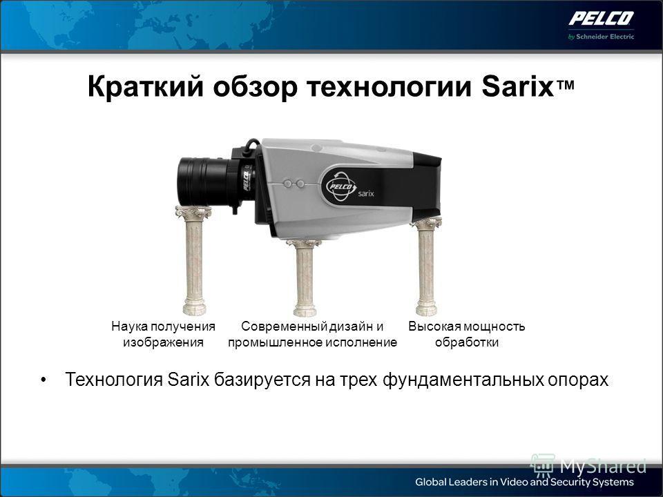 Наука получения изображения Современный дизайн и промышленное исполнение Высокая мощность обработки Краткий обзор технологии Sarix Технология Sarix базируется на трех фундаментальных опорах
