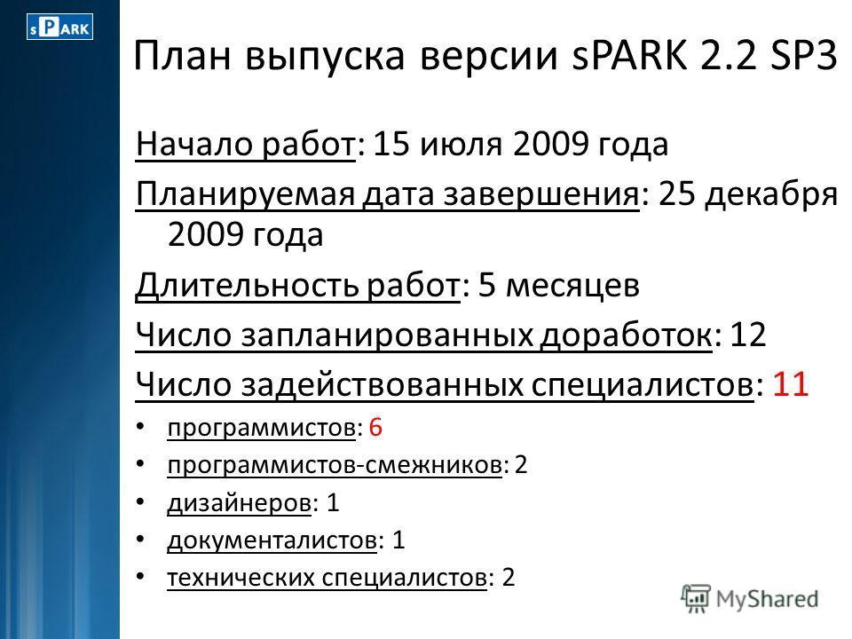 План выпуска версии sPARK 2.2 SP3 Начало работ: 15 июля 2009 года Планируемая дата завершения: 25 декабря 2009 года Длительность работ: 5 месяцев Число запланированных доработок: 12 Число задействованных специалистов: 11 программистов: 6 программисто