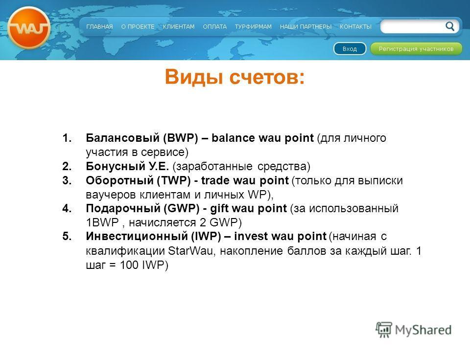 Виды счетов: 1.Балансовый (BWP) – balance wau point (для личного участия в сервисе) 2.Бонусный У.Е. (заработанные средства) 3.Оборотный (TWP) - trade wau point (только для выписки ваучеров клиентам и личных WP), 4.Подарочный (GWP) - gift wau point (з