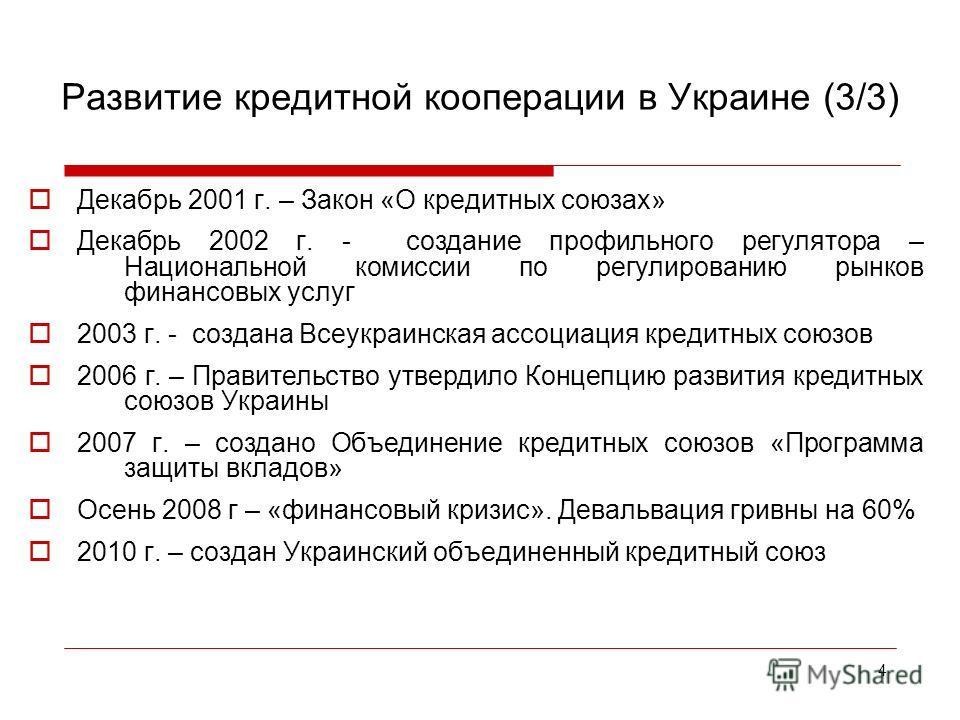 4 Декабрь 2001 г. – Закон «О кредитных союзах» Декабрь 2002 г. - создание профильного регулятора – Национальной комиссии по регулированию рынков финансовых услуг 2003 г. - создана Всеукраинская ассоциация кредитных союзов 2006 г. – Правительство утве