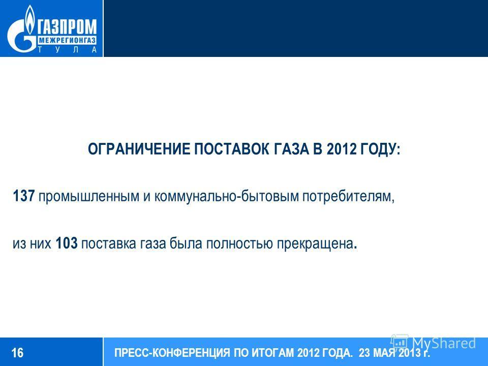 ОГРАНИЧЕНИЕ ПОСТАВОК ГАЗА В 2012 ГОДУ: 137 промышленным и коммунально-бытовым потребителям, из них 103 поставка газа была полностью прекращена. 16 ПРЕСС-КОНФЕРЕНЦИЯ ПО ИТОГАМ 2012 ГОДА. 23 МАЯ 2013 г.