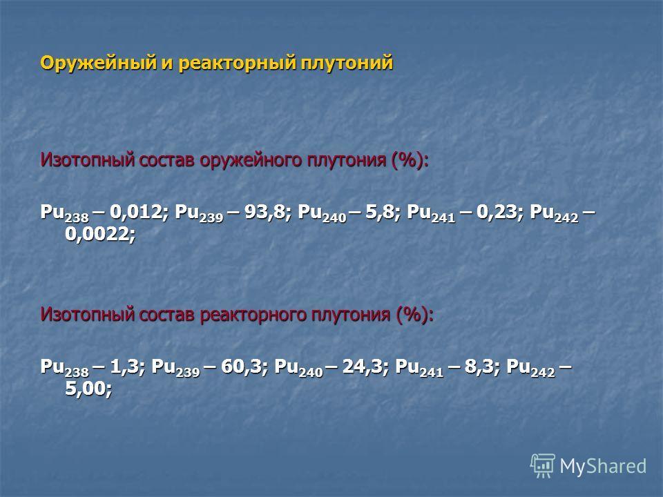 Оружейный и реакторный плутоний Изотопный состав оружейного плутония (%): Pu 238 – 0,012; Pu 239 – 93,8; Pu 240 – 5,8; Pu 241 – 0,23; Pu 242 – 0,0022; Изотопный состав реакторного плутония (%): Pu 238 – 1,3; Pu 239 – 60,3; Pu 240 – 24,3; Pu 241 – 8,3