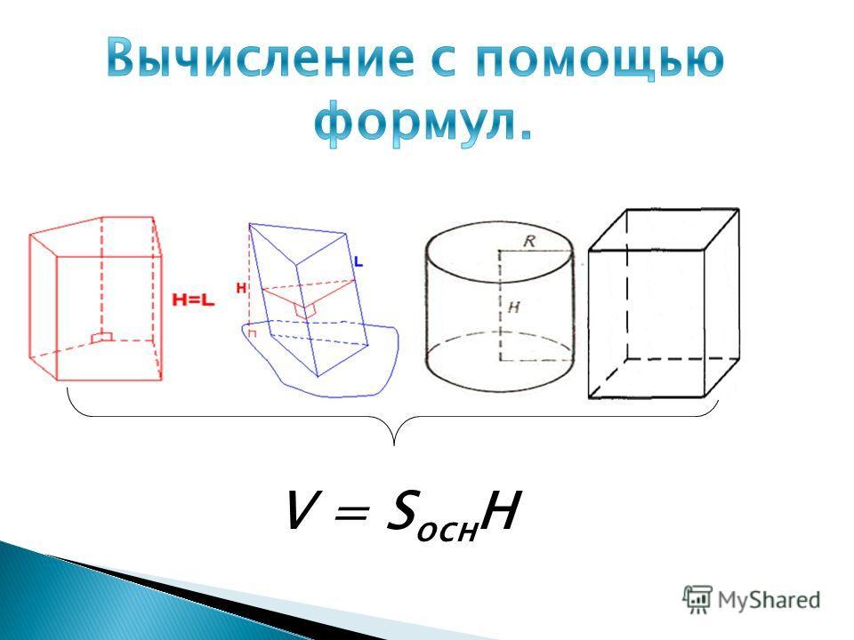 V = S осн H