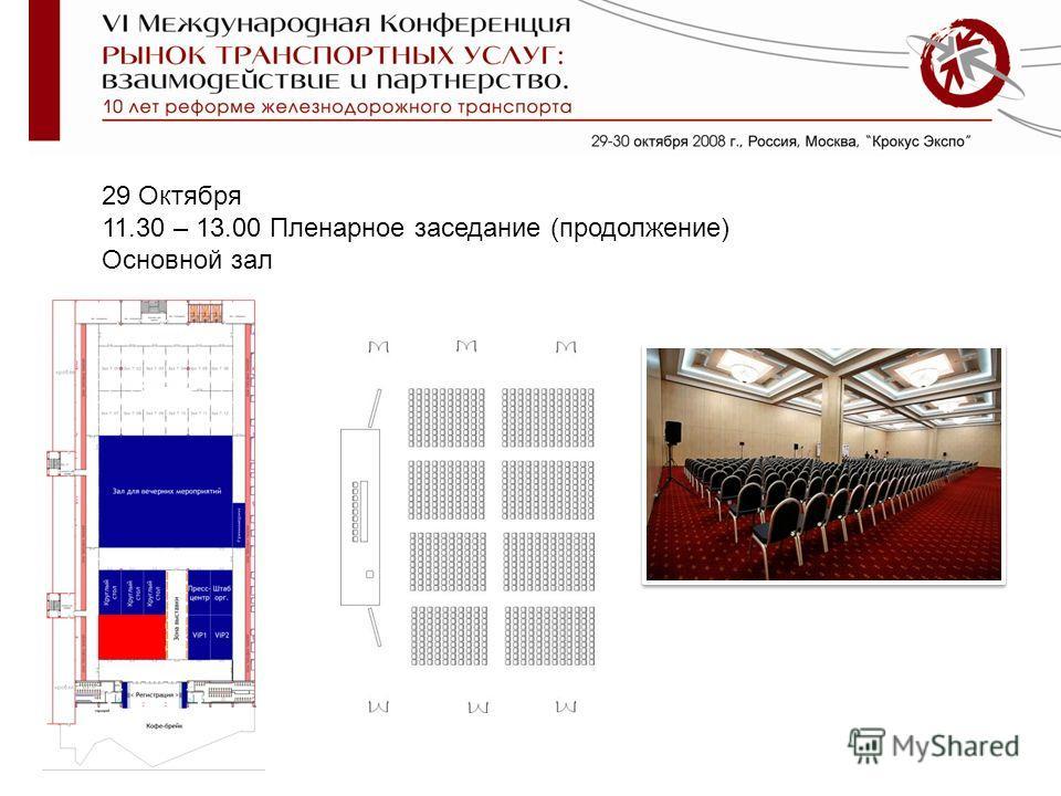 29 Октября 11.30 – 13.00 Пленарное заседание (продолжение) Основной зал