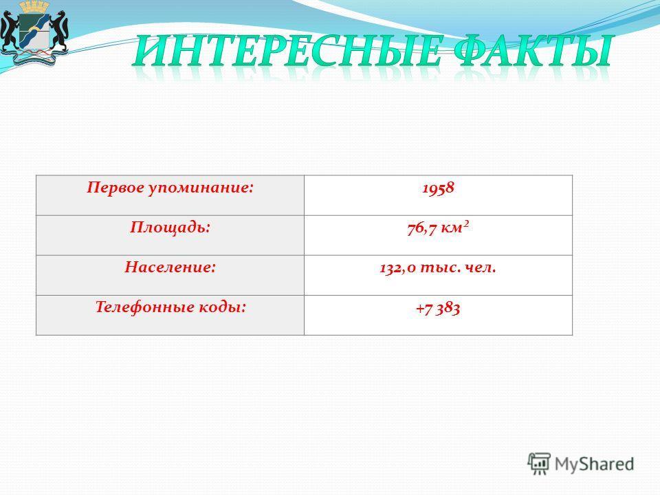 Первое упоминание:1958 Площадь:76,7 км² Население:132,0 тыс. чел. Телефонные коды:+7 383