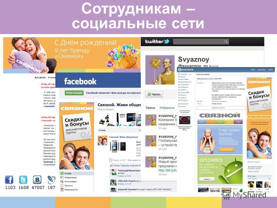 Сотрудникам – социальные сети