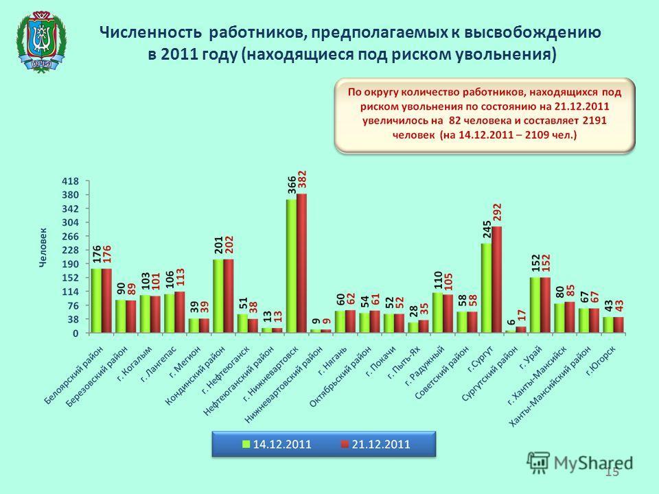 Численность работников, предполагаемых к высвобождению в 2011 году (находящиеся под риском увольнения) 15