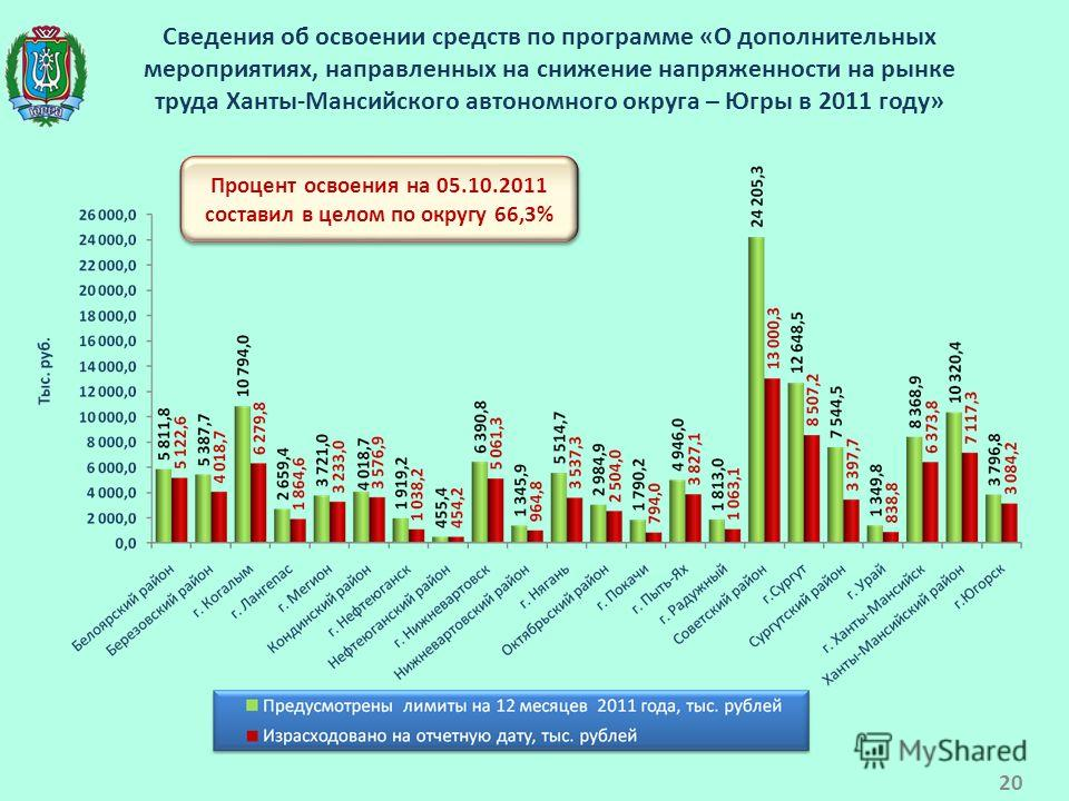 Сведения об освоении средств по программе «О дополнительных мероприятиях, направленных на снижение напряженности на рынке труда Ханты-Мансийского автономного округа – Югры в 2011 году» Процент освоения на 05.10.2011 составил в целом по округу 66,3% 2