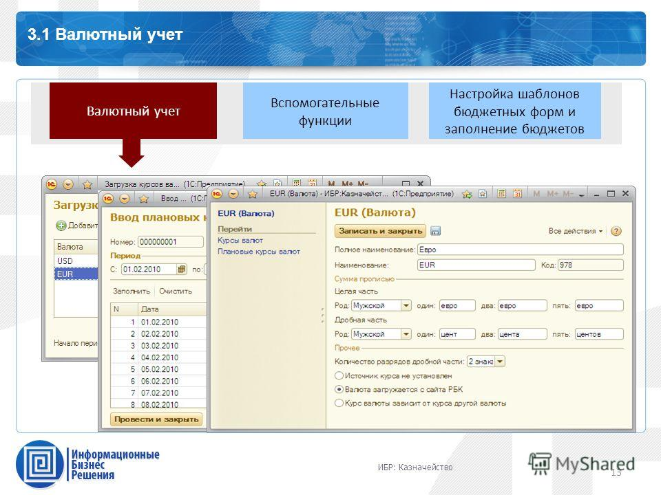 13 Каталог профессиональных сервисов 3.1 Валютный учет 13 Валютный учет Вспомогательные функции Настройка шаблонов бюджетных форм и заполнение бюджетов ИБР: Казначейство